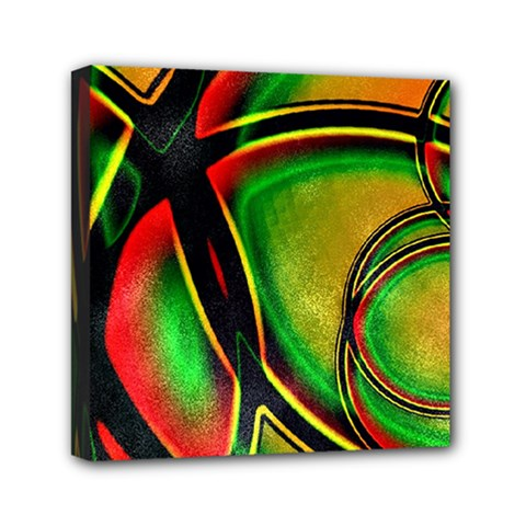 Multicolored Modern Abstract Design Mini Canvas 6  x 6  (Framed)