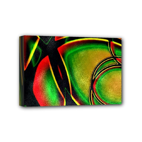 Multicolored Modern Abstract Design Mini Canvas 6  X 4  (framed)