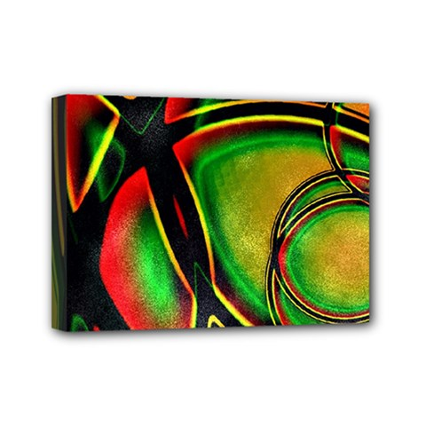 Multicolored Modern Abstract Design Mini Canvas 7  X 5  (framed)
