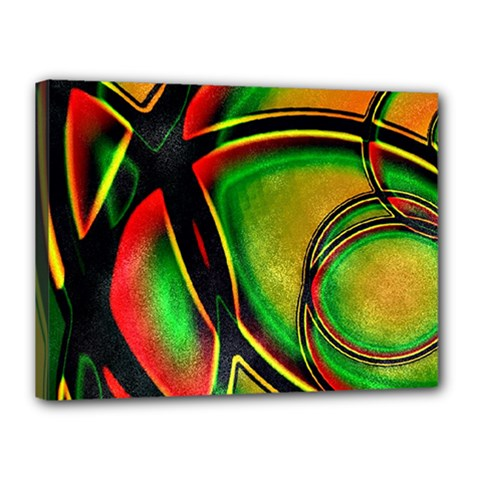 Multicolored Modern Abstract Design Canvas 16  X 12  (framed)