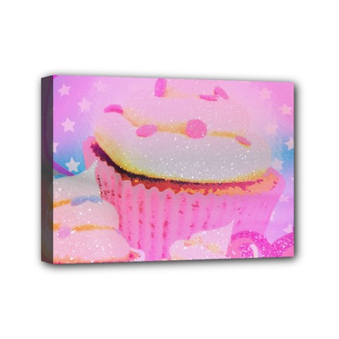 Cupcakes Covered In Sparkly Sugar Mini Canvas 7  X 5  (framed)