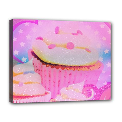 Cupcakes Covered In Sparkly Sugar Canvas 14  X 11  (framed)