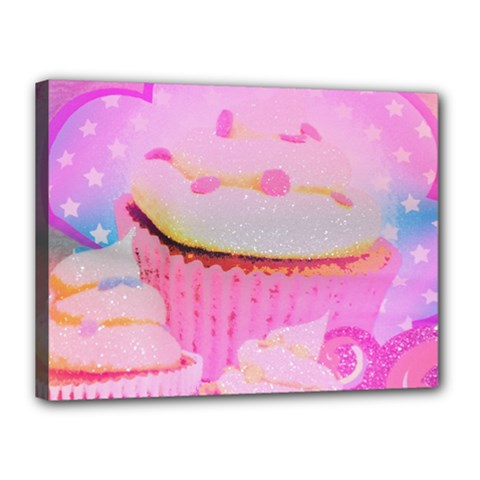 Cupcakes Covered In Sparkly Sugar Canvas 16  x 12  (Framed)