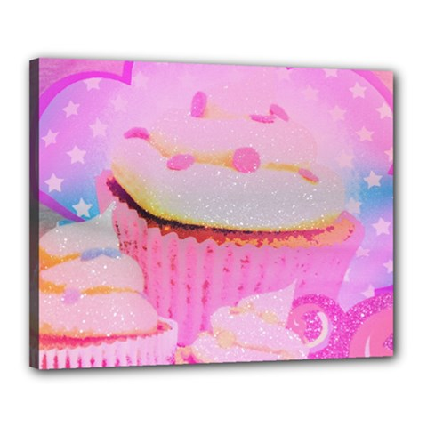 Cupcakes Covered In Sparkly Sugar Canvas 20  X 16  (framed)