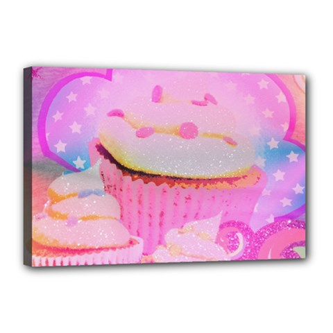 Cupcakes Covered In Sparkly Sugar Canvas 18  x 12  (Framed)