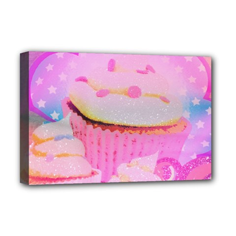 Cupcakes Covered In Sparkly Sugar Deluxe Canvas 18  x 12  (Framed)