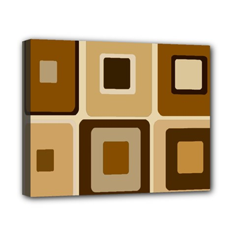Retro Coffee Squares Canvas 10  x 8  (Framed)