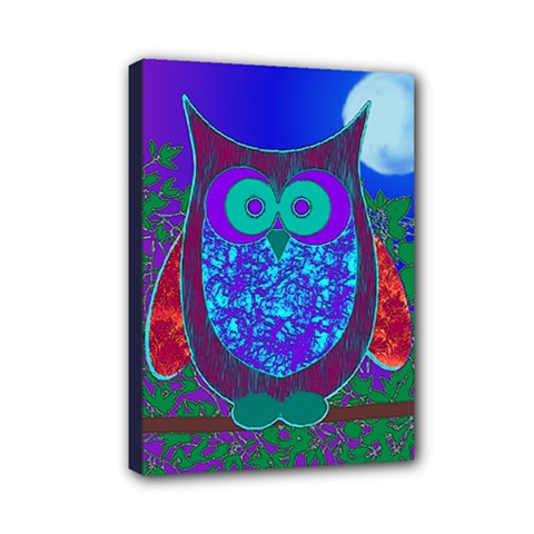 Moon Owl Mini Canvas 7  x 5  (Framed)