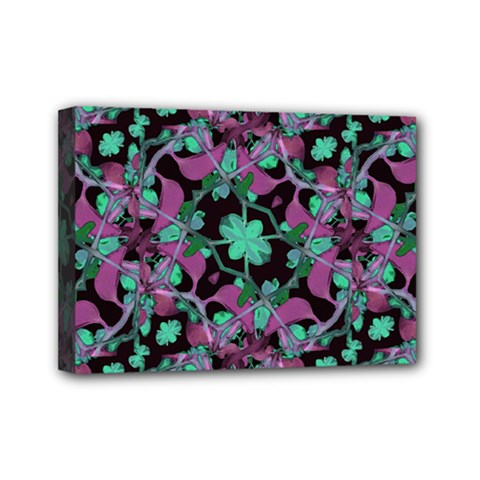 Floral Arabesque Pattern Mini Canvas 7  x 5  (Framed)