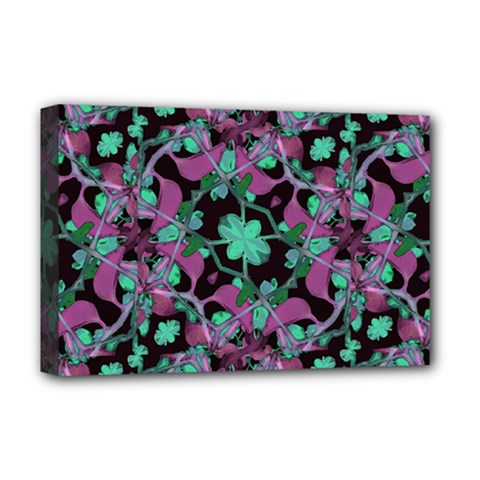 Floral Arabesque Pattern Deluxe Canvas 18  x 12  (Framed)