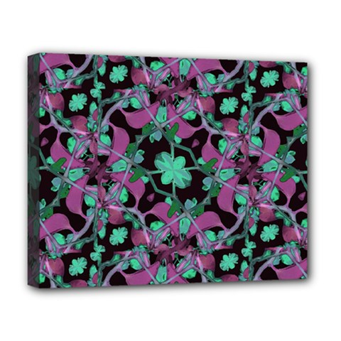 Floral Arabesque Pattern Deluxe Canvas 20  x 16  (Framed)