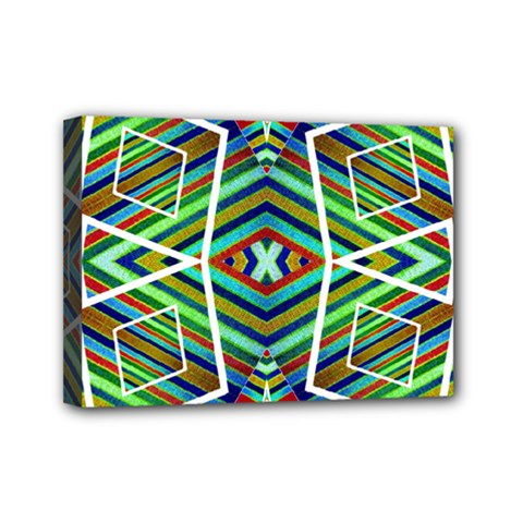 Colorful Geometric Abstract Pattern Mini Canvas 7  X 5  (framed)