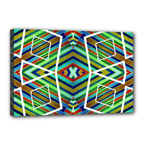 Colorful Geometric Abstract Pattern Canvas 18  x 12  (Framed)