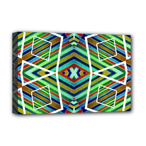 Colorful Geometric Abstract Pattern Deluxe Canvas 18  X 12  (framed)