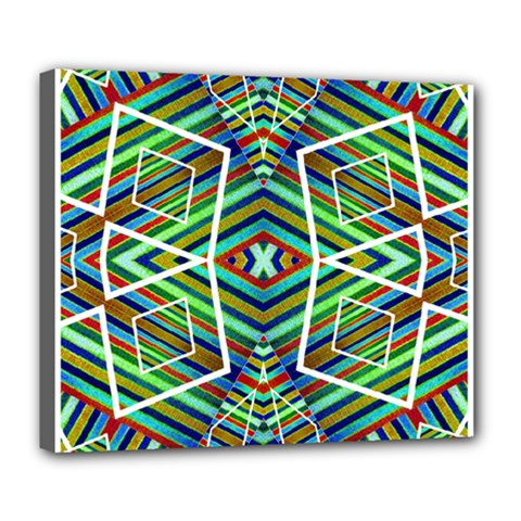 Colorful Geometric Abstract Pattern Deluxe Canvas 24  x 20  (Framed)