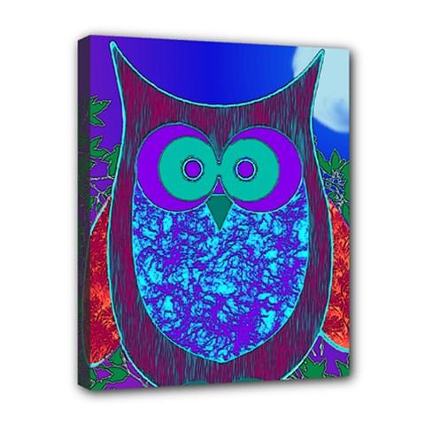 Moon Owl Canvas 10  x 8  (Framed)