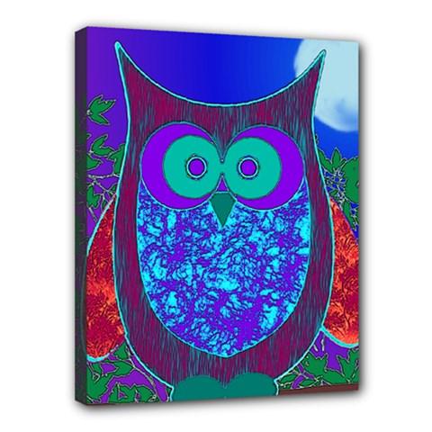 Moon Owl Canvas 14  x 11  (Framed)