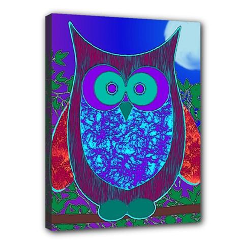 Moon Owl Canvas 16  X 12  (framed)