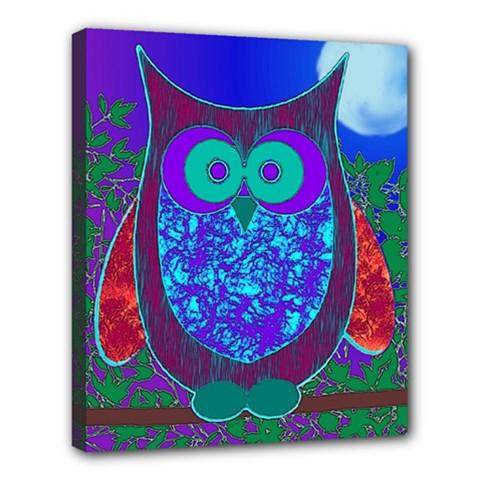 Moon Owl Deluxe Canvas 24  x 20  (Framed)