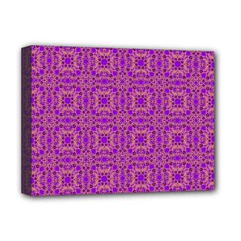 Purple Moroccan Pattern Deluxe Canvas 16  X 12  (framed)