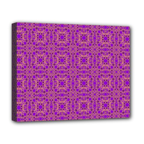Purple Moroccan Pattern Deluxe Canvas 20  X 16  (framed)