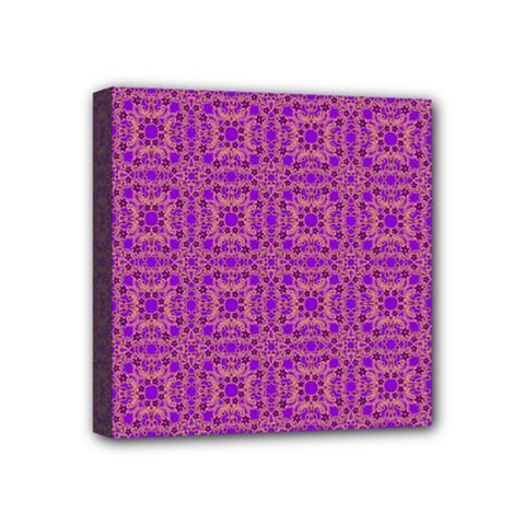 Purple Moroccan Pattern Mini Canvas 4  X 4  (framed)
