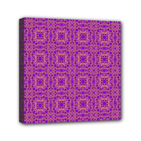 Purple Moroccan Pattern Mini Canvas 6  X 6  (framed)