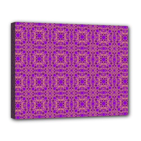 Purple Moroccan Pattern Canvas 14  x 11  (Framed)