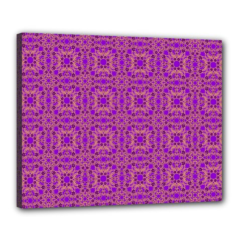 Purple Moroccan Pattern Canvas 20  x 16  (Framed)