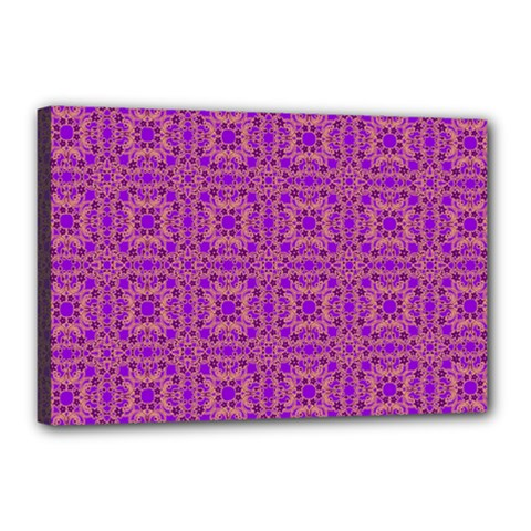 Purple Moroccan Pattern Canvas 18  X 12  (framed)