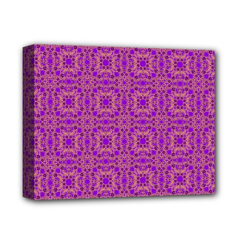 Purple Moroccan Pattern Deluxe Canvas 14  X 11  (framed)