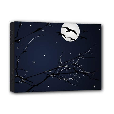 Night Birds And Full Moon Deluxe Canvas 16  X 12  (framed)