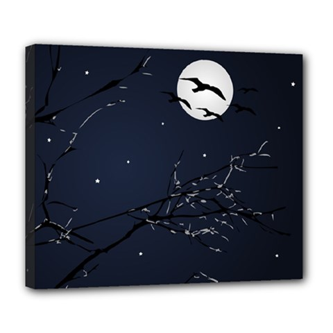 Night Birds and Full Moon Deluxe Canvas 24  x 20  (Framed)