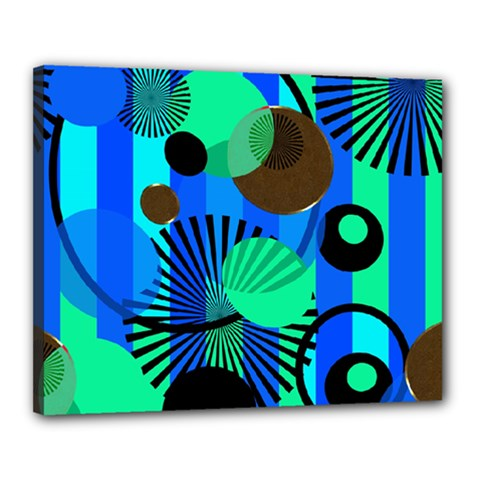 Blue Green Stripes Dots Canvas 20  x 16  (Framed)