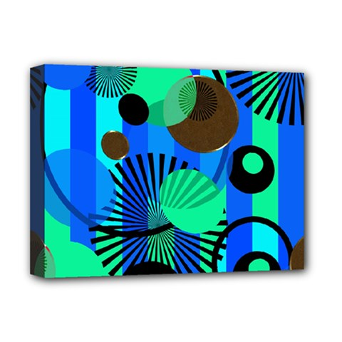 Blue Green Stripes Dots Deluxe Canvas 16  x 12  (Framed)