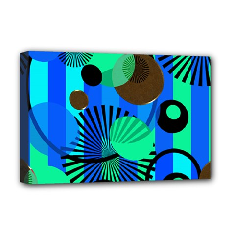 Blue Green Stripes Dots Deluxe Canvas 18  x 12  (Framed)