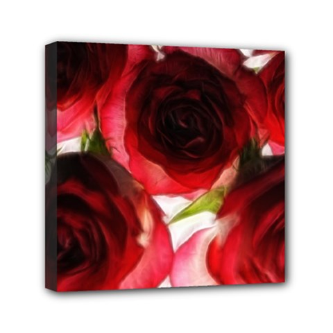 Pink And Red Roses On White Mini Canvas 6  X 6  (framed)