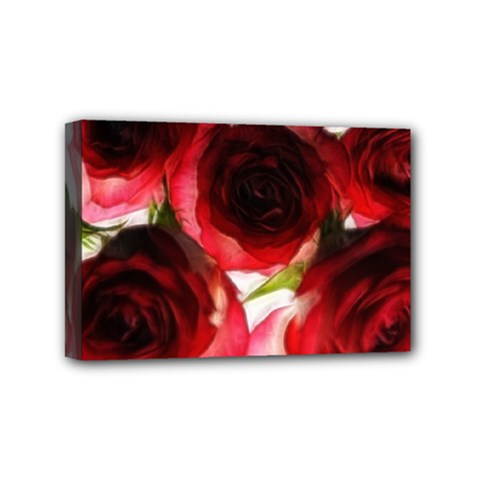 Pink and Red Roses on White Mini Canvas 6  x 4  (Framed)