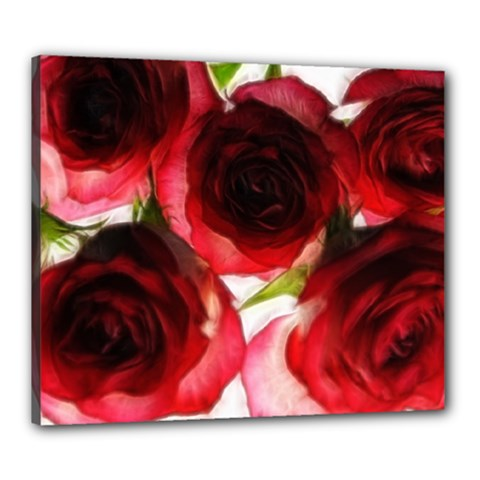 Pink And Red Roses On White Canvas 24  X 20  (framed)