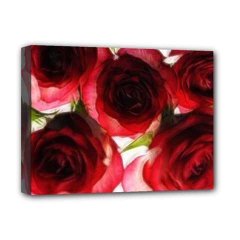 Pink and Red Roses on White Deluxe Canvas 16  x 12  (Framed)