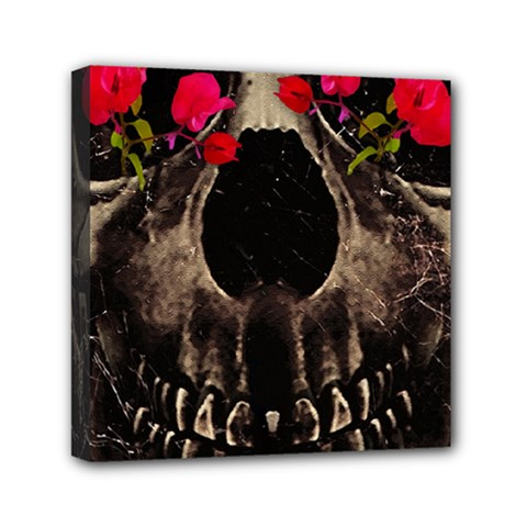 Death and Flowers Mini Canvas 6  x 6  (Framed)