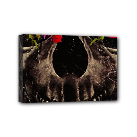 Death and Flowers Mini Canvas 6  x 4  (Framed)