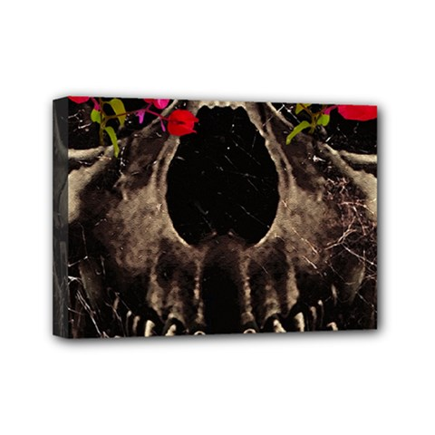 Death and Flowers Mini Canvas 7  x 5  (Framed)