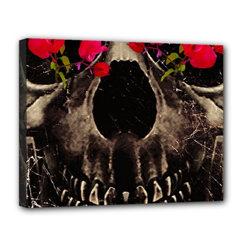 Death and Flowers Canvas 14  x 11  (Framed)