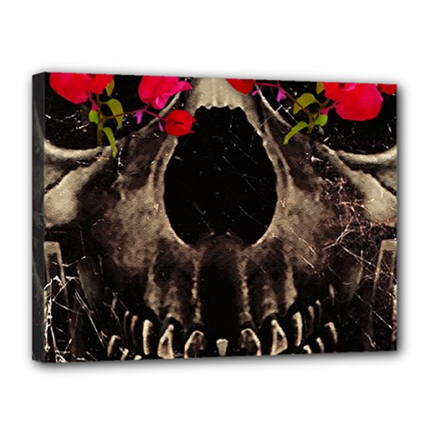 Death and Flowers Canvas 16  x 12  (Framed)