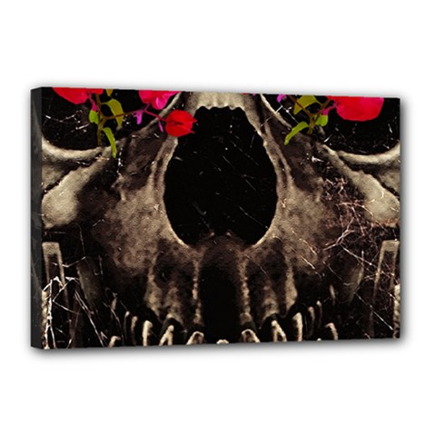 Death And Flowers Canvas 18  X 12  (framed)