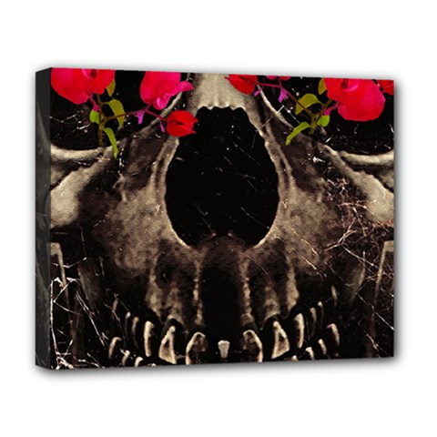 Death and Flowers Deluxe Canvas 20  x 16  (Framed)