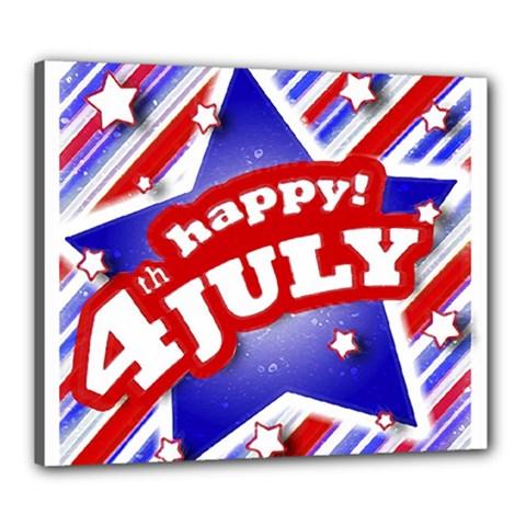 4th of July Celebration Design Canvas 24  x 20  (Framed)