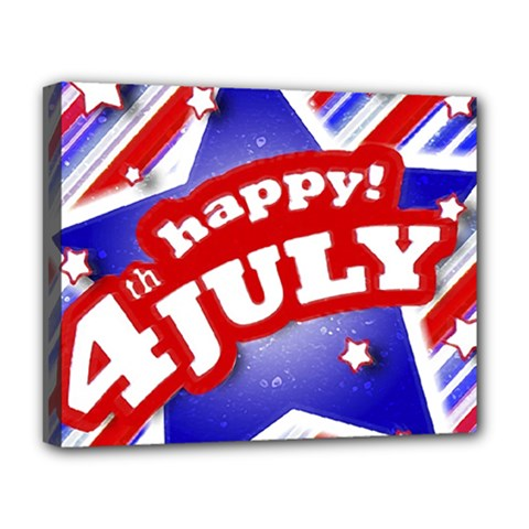 4th of July Celebration Design Deluxe Canvas 20  x 16  (Framed)