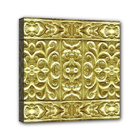 Gold Plated Ornament Mini Canvas 6  x 6  (Framed)